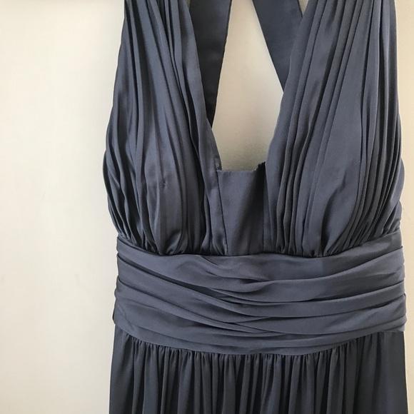 JS Boutique Dark Slate Blue/Navy Satin Long Dress